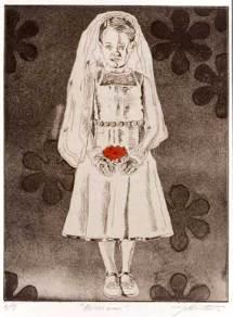"Blossom — St. Ursula & the Eleven Thousand Virgins series. 2003. Intaglio. Size 9"" x 12"""