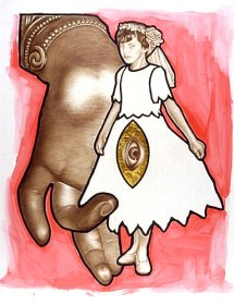 """""""The Child Bride"""" 2002. Coloured pencil, drawing ink & composition leaf on mylar. Size 28"""" x 34.5"""""""