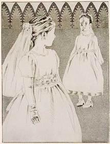 "Brides — St. Ursula & the Eleven Thousand Virgins series. 2003. Intaglio. Size 9"" x 12"""