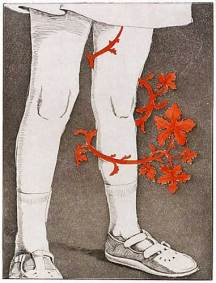 "Flower — St. Ursula & the Eleven Thousand Virgins series. 2003. Intaglio. Size 9"" x 12"""