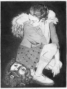 "Judith — St. Ursula & the Eleven Thousand Virgins series. 2003. Intaglio. Size 9"" x 12"""