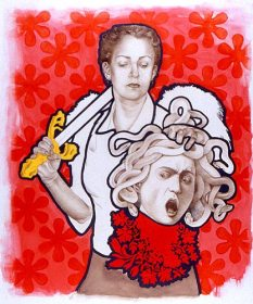 """""""St. Ursula and the Gorgon's Head"""". 2002. Coloured pencil and drawing ink on mylar."""