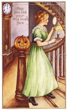 vintage-halloween-woman-mirror-pumpkin-candle-clock-card