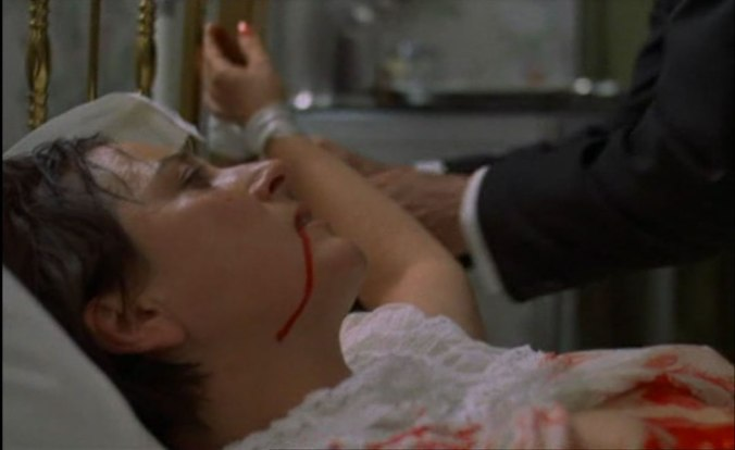 "The unfortunate Margaret is ripped apart birthing the demon child within her in ""To the Devil A Daughter"" (1976)."