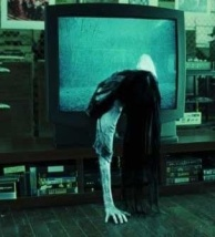 "The malevolent ghost-child Samara climbs out of the TV in the now-iconic conclusion to ""The Ring"" (2002)."