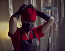 "Katharine Isabelle stars as the titular ""American Mary"", though it's never revealed as to why she's identified as ""American."""