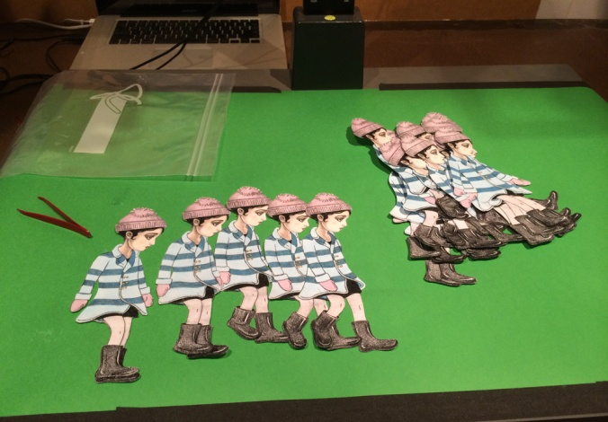 Paper cutouts used in walking loop.