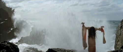 Hijikata performing his improvished dance on the rocks.