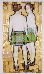 "Catholic Girls — Gravid series. 2004. Coloured pencil, ink, tape, composition leaf & cigarette foil on mylar. 36"" x 64.5"""