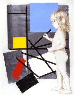 "Child dismantles Mondrian — Gravid series. 2003. Mixed media on mylar. 24"" x 36"""