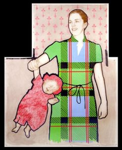 """Mother & Daughter— Gravid series. 2003. Mixed media on mylar. 36"""" x 45"""""""